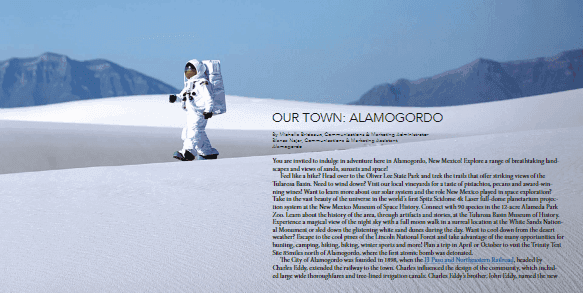 The Municipal Reporter online magazine, White Sands view with Astronaut walking the dunes