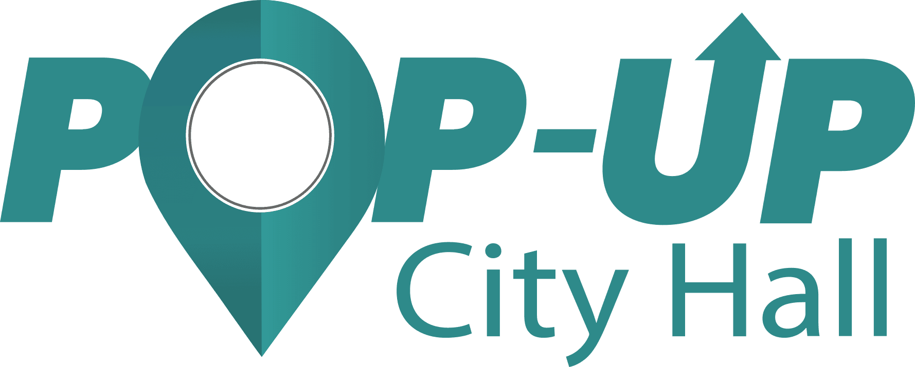 Pop Up City Hall logo, teal with location marker