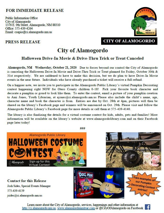 Press Release - Halloween Drive-In Movie and Drive-Thru Trick or Treat Canceled 102120