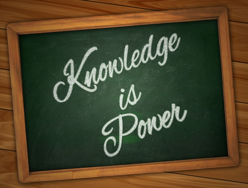 Knowledge is Power text on chalkboard